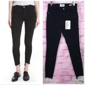 NWT Frame Jeans Le High Skinny Film Noir Step  Hem